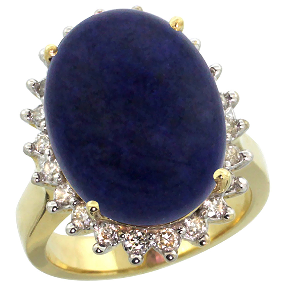 14k Yellow Gold Diamond Halo Natural Lapis Ring Large Oval 18x13mm, sizes 5-10