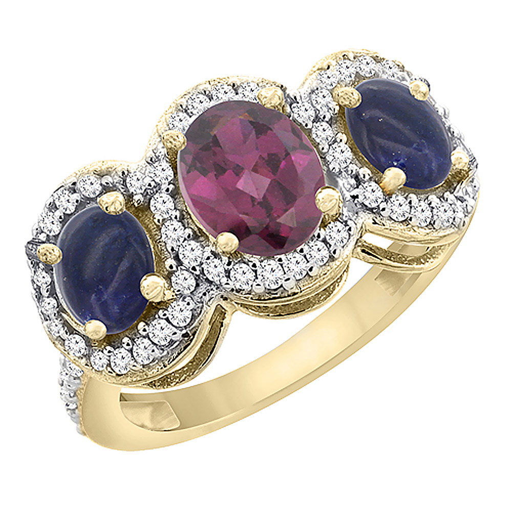 14K Yellow Gold Natural Rhodolite & Lapis 3-Stone Ring Oval Diamond Accent, sizes 5 - 10