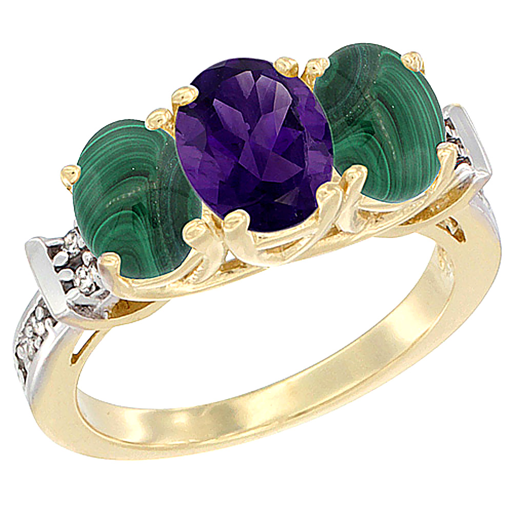 10K Yellow Gold Natural Amethyst & Malachite Sides Ring 3-Stone Oval Diamond Accent, sizes 5 - 10