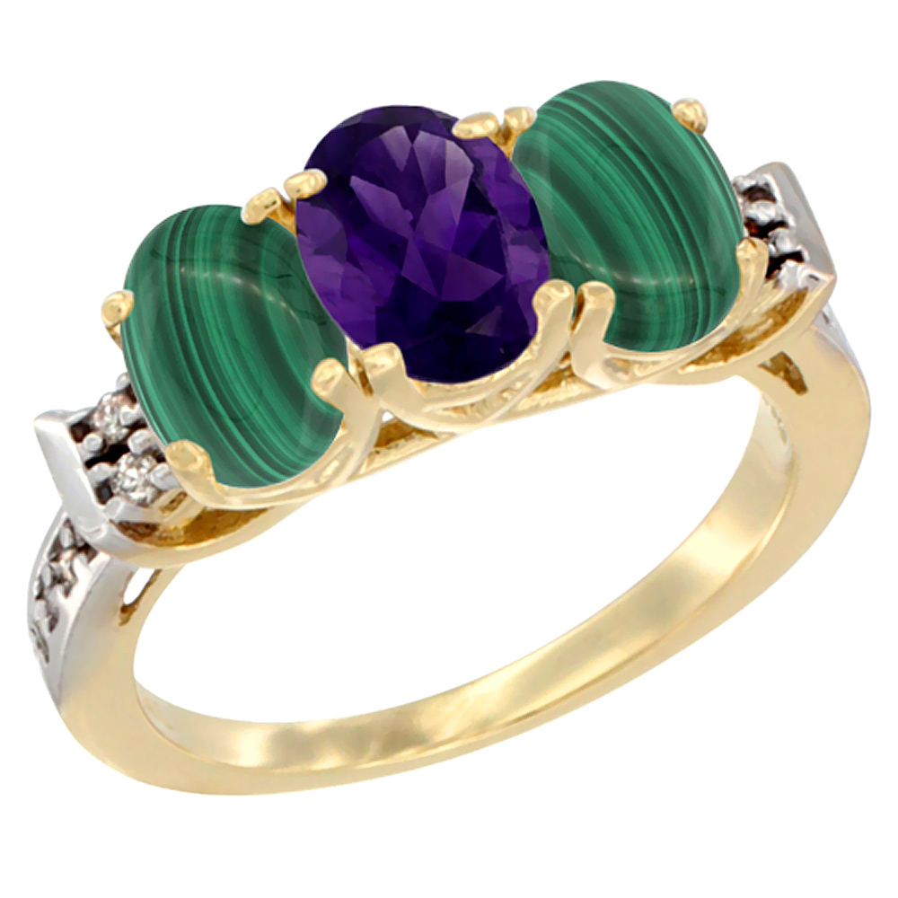 10K Yellow Gold Natural Amethyst & Malachite Sides Ring 3-Stone Oval 7x5 mm Diamond Accent, sizes 5 - 10