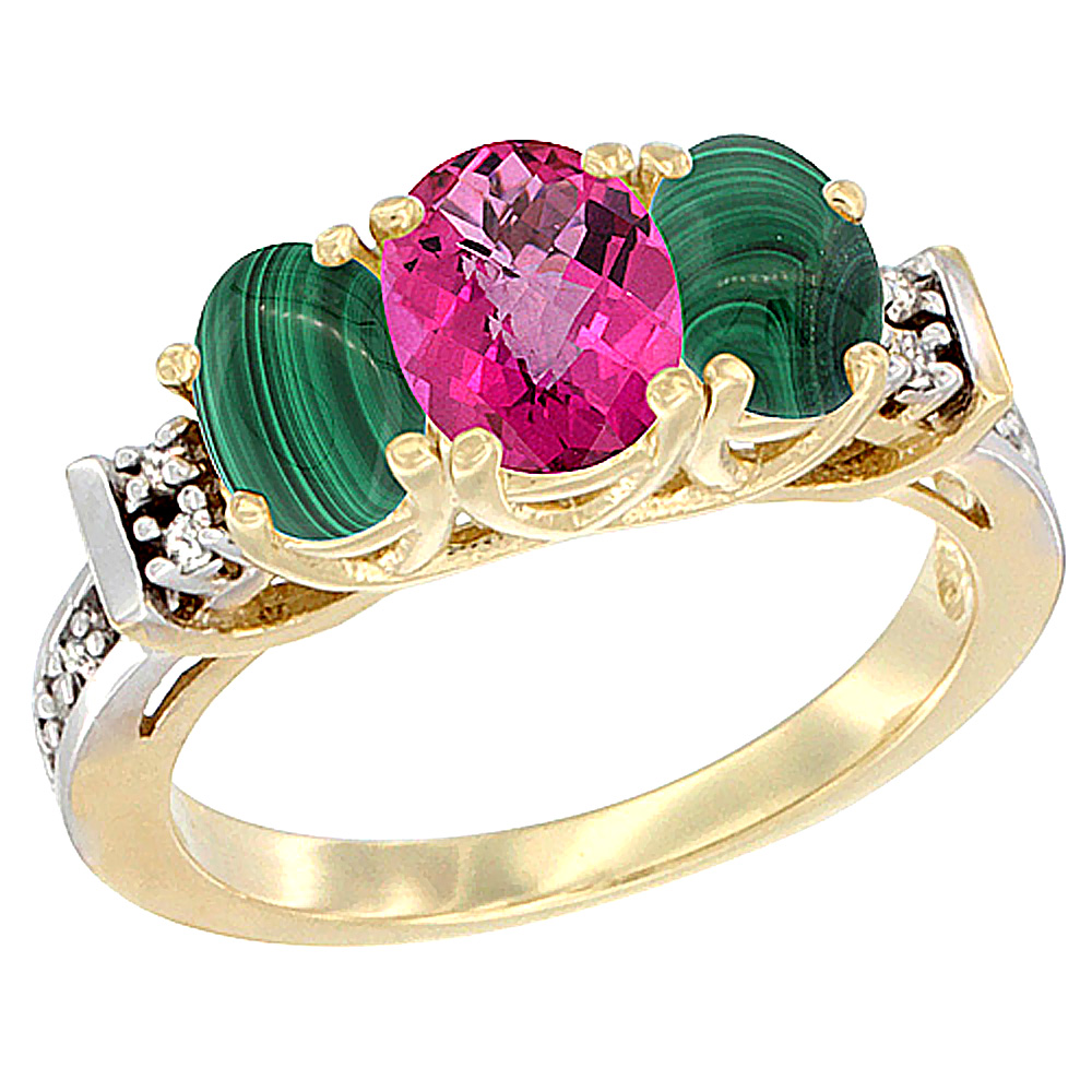 10K Yellow Gold Natural Pink Topaz & Malachite Ring 3-Stone Oval Diamond Accent