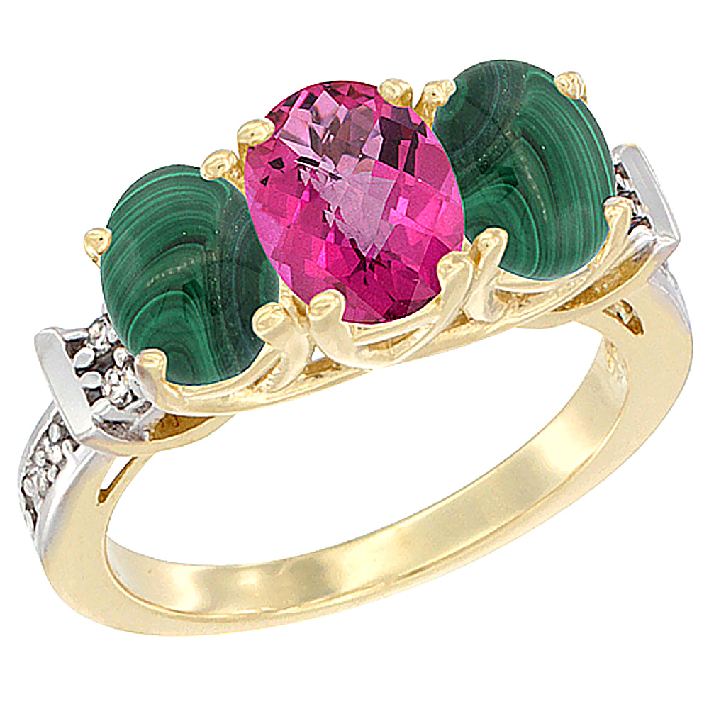 10K Yellow Gold Natural Pink Topaz & Malachite Sides Ring 3-Stone Oval Diamond Accent, sizes 5 - 10