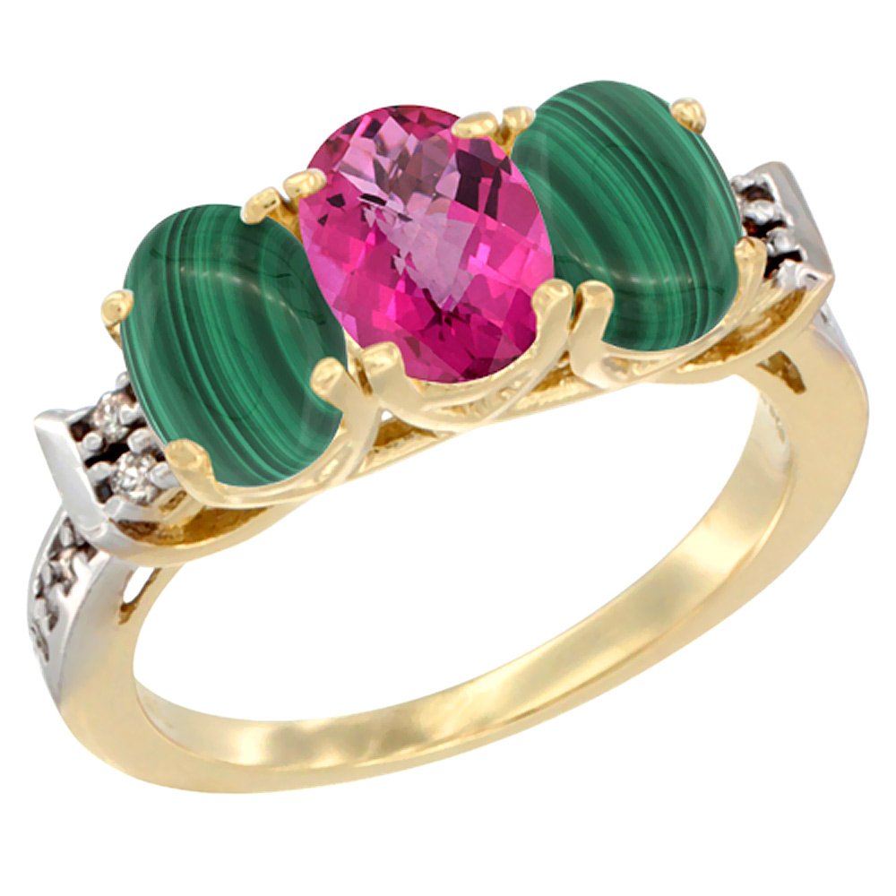 10K Yellow Gold Natural Pink Topaz & Malachite Sides Ring 3-Stone Oval 7x5 mm Diamond Accent, sizes 5 - 10