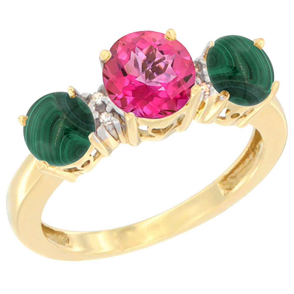10K Yellow Gold Round 3-Stone Natural Pink Topaz Ring & Malachite Sides Diamond Accent, sizes 5 - 10