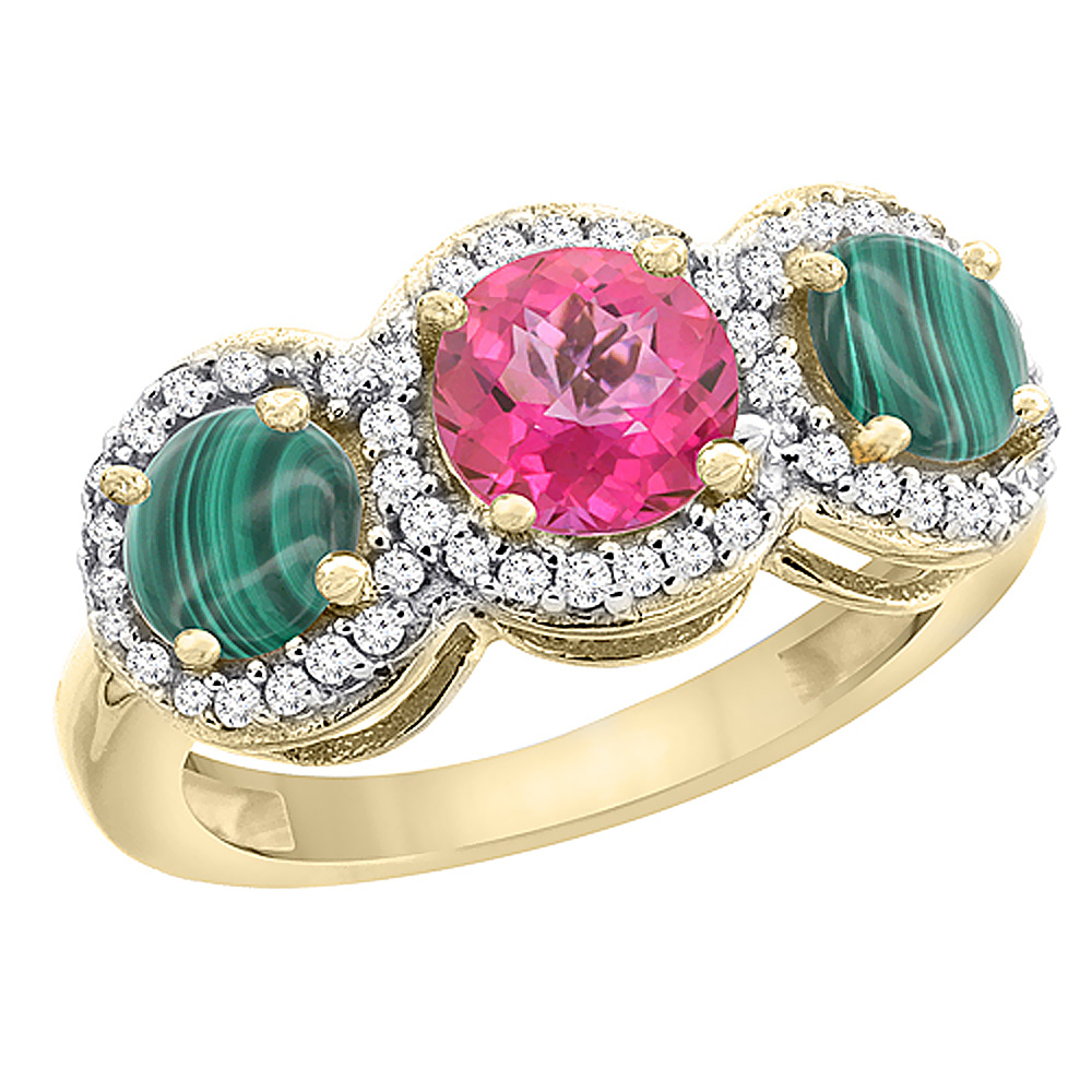 10K Yellow Gold Natural Pink Topaz & Malachite Sides Round 3-stone Ring Diamond Accents, sizes 5 - 10