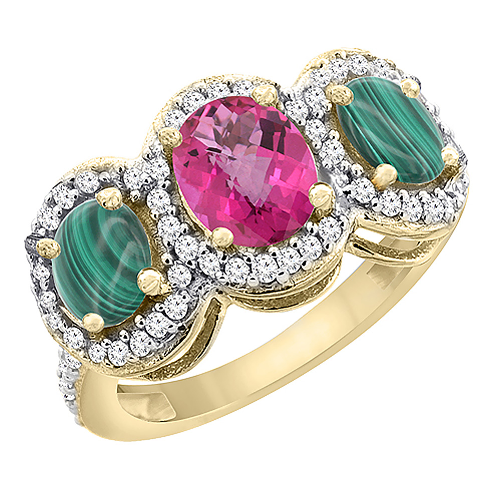 10K Yellow Gold Natural Pink Topaz & Malachite 3-Stone Ring Oval Diamond Accent, sizes 5 - 10