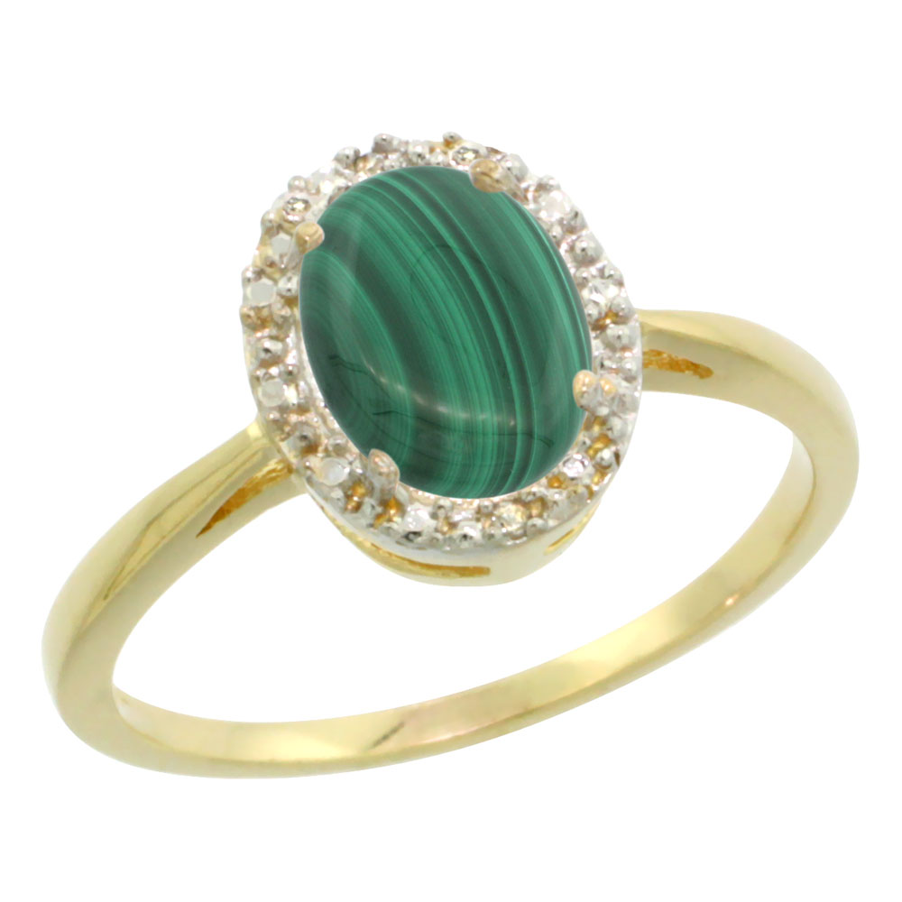 10K Yellow Gold Natural Malachite Diamond Halo Ring Oval 8X6mm, sizes 5 10