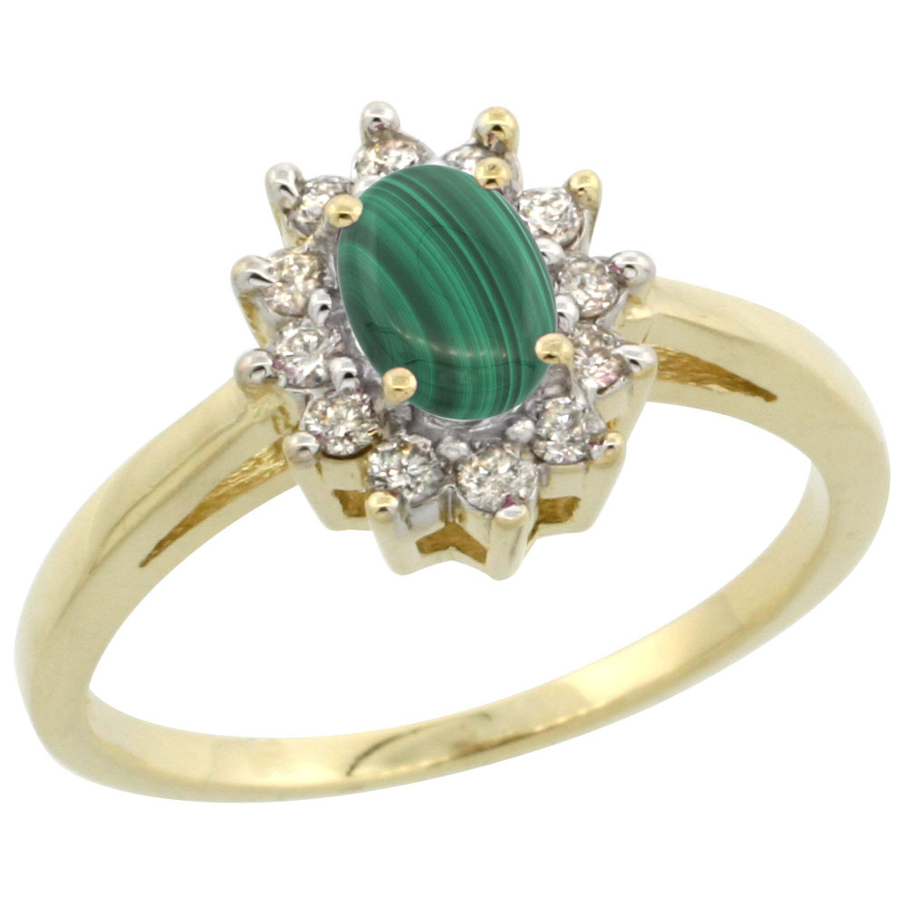10K Yellow Gold Natural Malachite Flower Diamond Halo Ring Oval 6x4 mm, sizes 5 10
