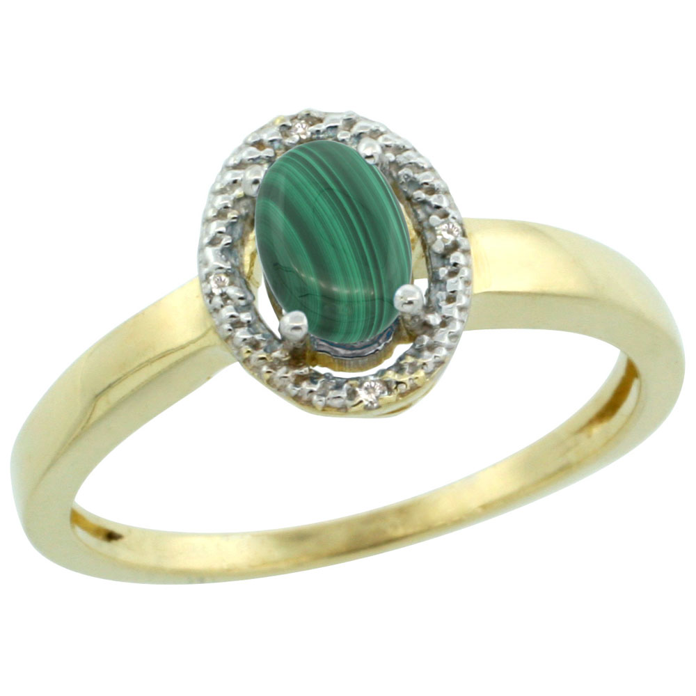 10K Yellow Gold Diamond Halo Natural Malachite Engagement Ring Oval 6X4 mm, sizes 5-10