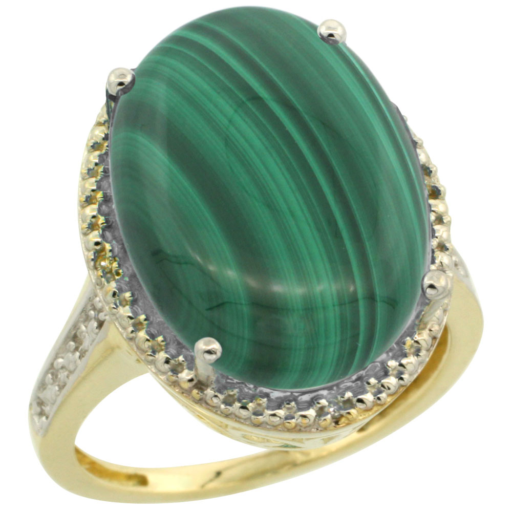 10K Yellow Gold Diamond Natural Malachite Ring Oval 18x13mm, sizes 5-10