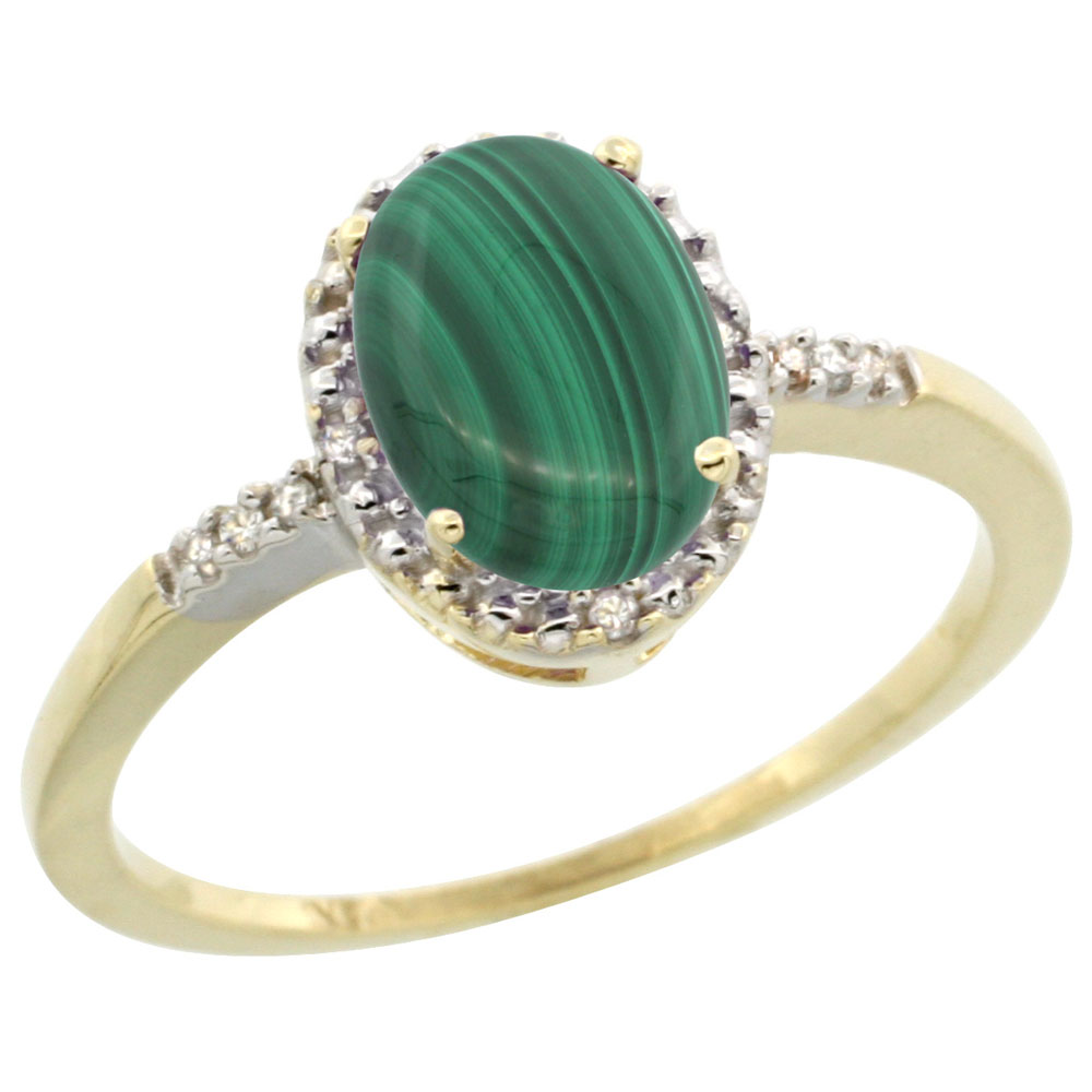 14K Yellow Gold Diamond Natural Malachite Ring Oval 8x6mm, sizes 5-10