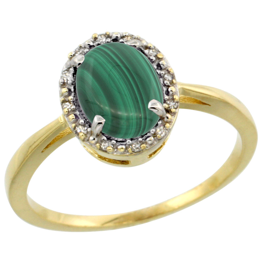 10k Yellow Gold Natural Malachite Ring Oval 8x6 mm Diamond Halo, sizes 5-10