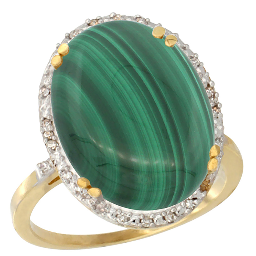 10k Yellow Gold Natural Malachite Ring Large Oval 18x13mm Diamond Halo, sizes 5-10