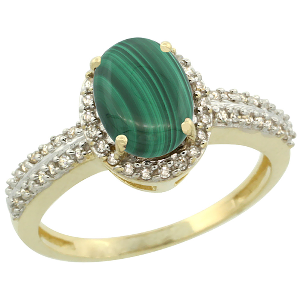 14K Yellow Gold Natural Malachite Ring Oval 8x6mm Diamond Halo, sizes 5-10