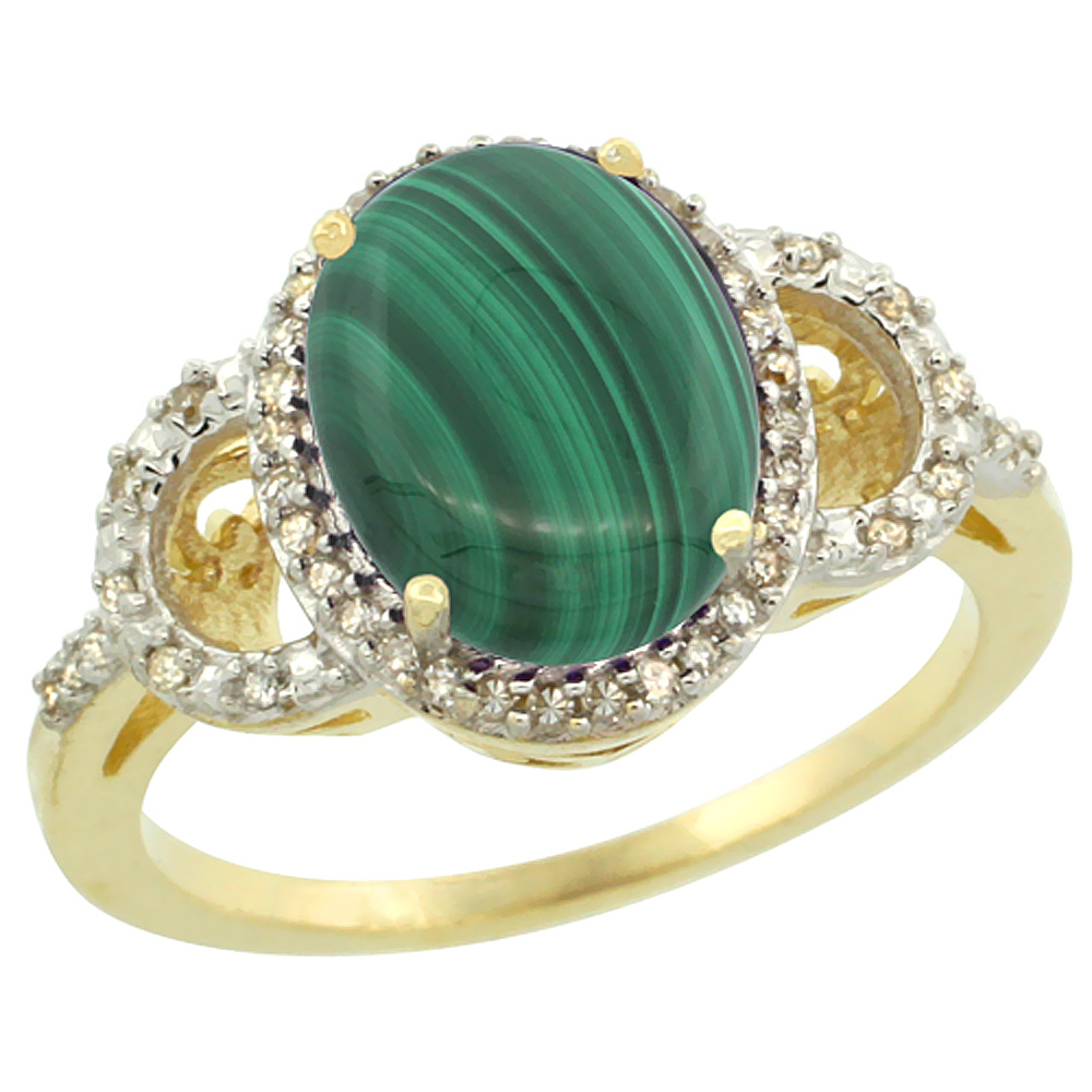 14K Yellow Gold Diamond Natural Malachite Engagement Ring Oval 10x8mm, sizes 5-10