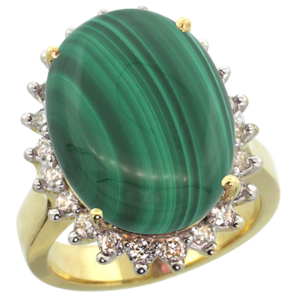 14K Yellow Gold Natural Malachite Ring Large Oval 18x13mm Diamond Halo, sizes 5-10
