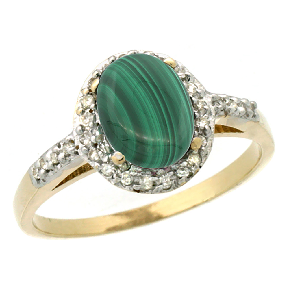 10K Yellow Gold Diamond Natural Malachite Ring Oval 8x6mm, sizes 5-10