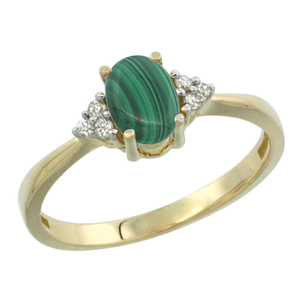 14K Yellow Gold Diamond Natural Malachite Engagement Ring Oval 7x5mm, sizes 5-10