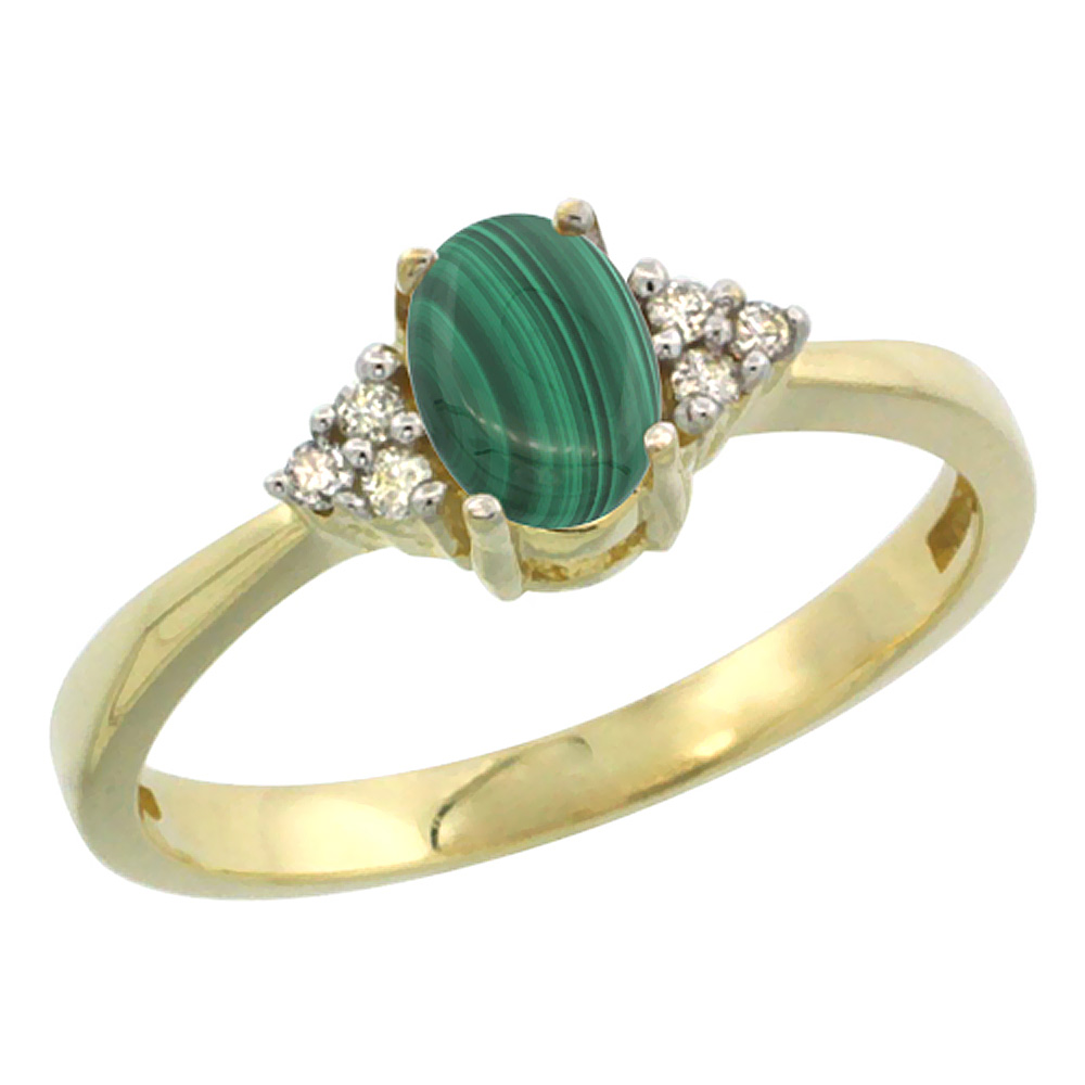 14K Yellow Gold Natural Malachite Ring Oval 6x4mm Diamond Accent, sizes 5-10