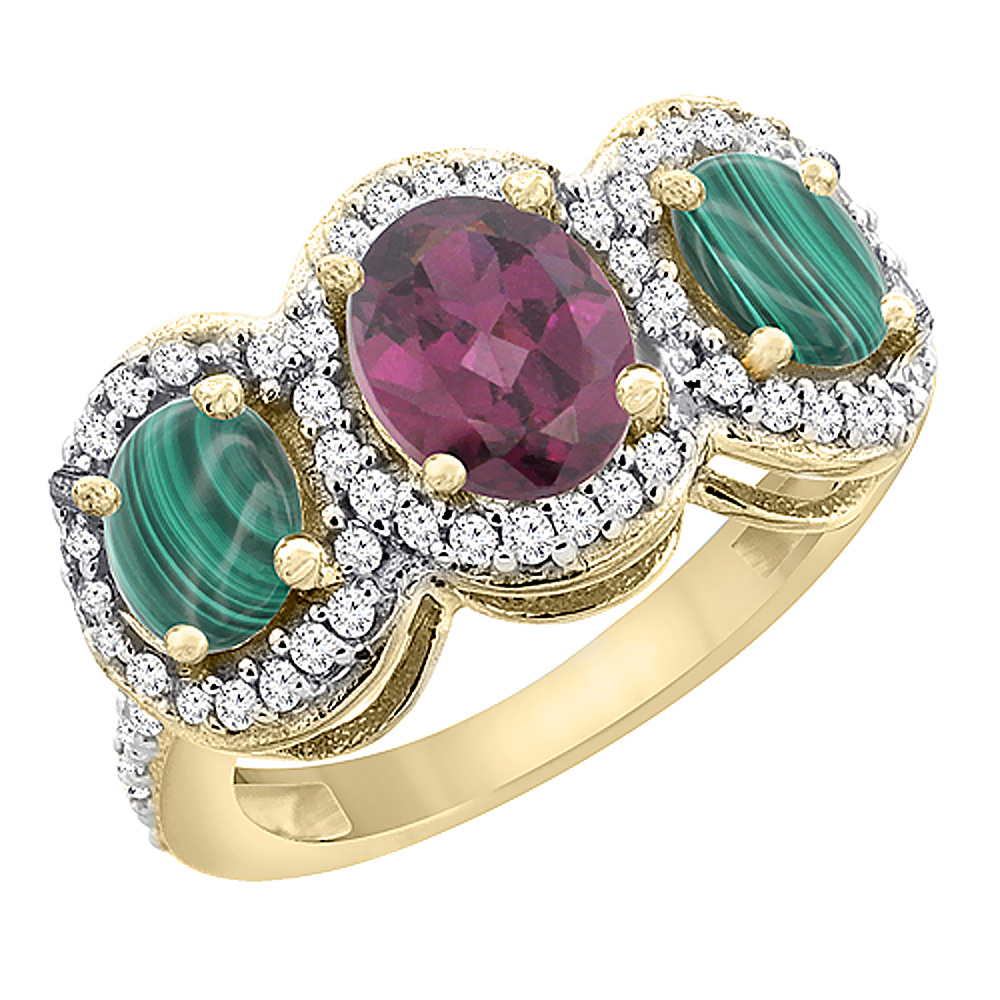 10K Yellow Gold Natural Rhodolite & Malachite 3-Stone Ring Oval Diamond Accent, sizes 5 - 10