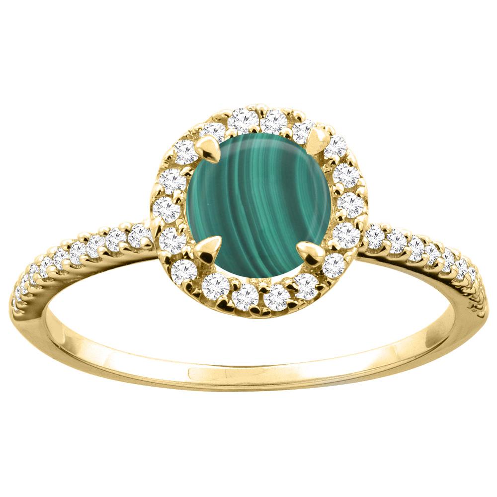 14K Gold Natural Malachite Ring Round 6mm Diamond Accents, sizes 5 - 10