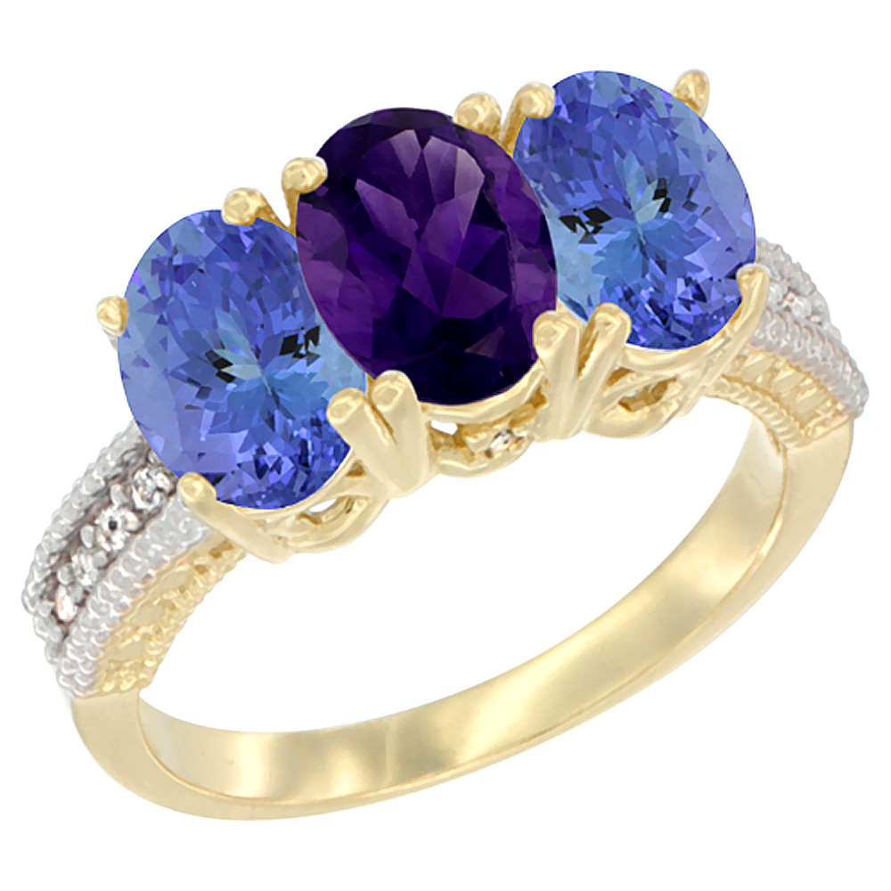 10K Yellow Gold Natural Amethyst & Tanzanite Sides Ring 3-Stone Oval 7x5 mm Diamond Accent, sizes 5 - 10