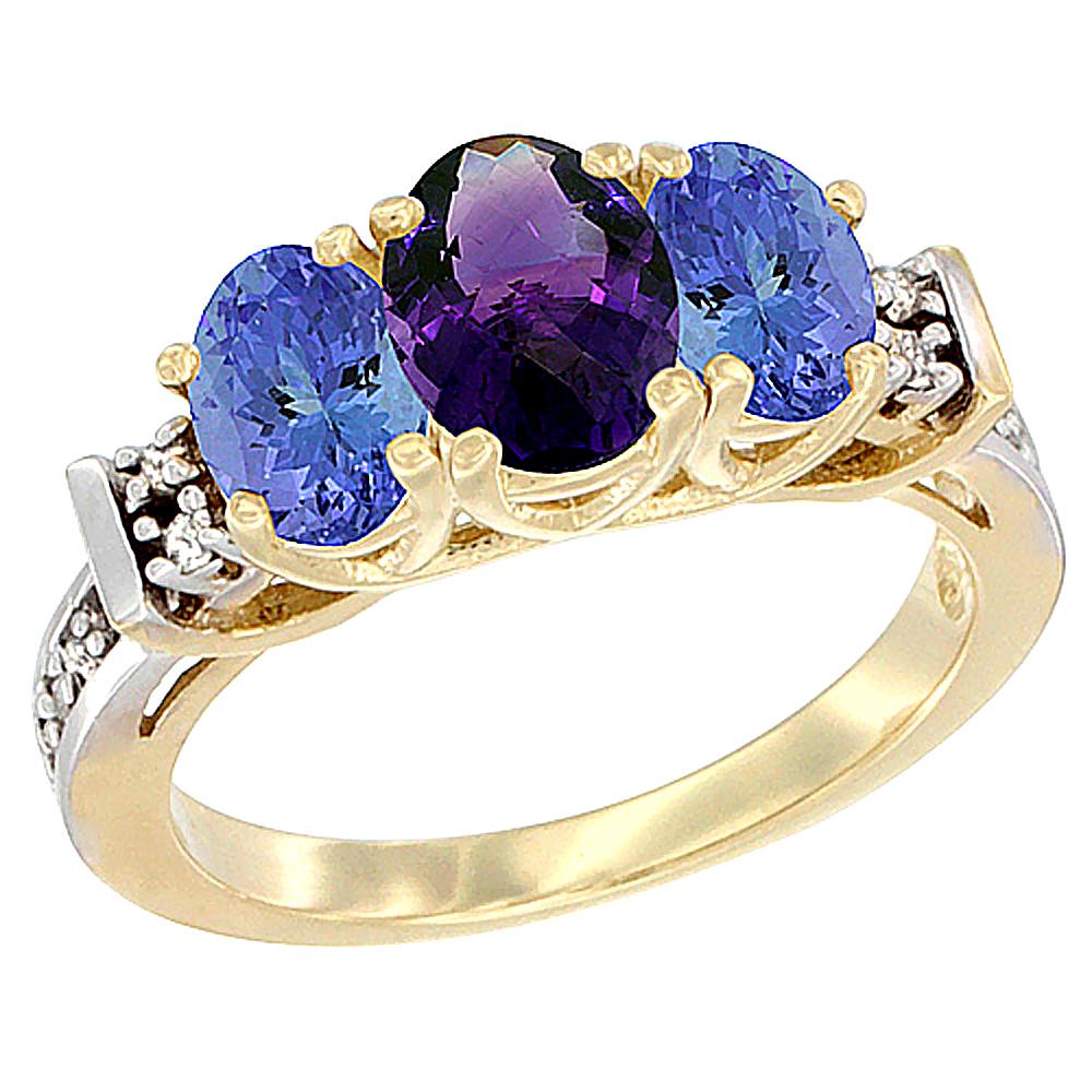 10K Yellow Gold Natural Amethyst & Tanzanite Ring 3-Stone Oval Diamond Accent