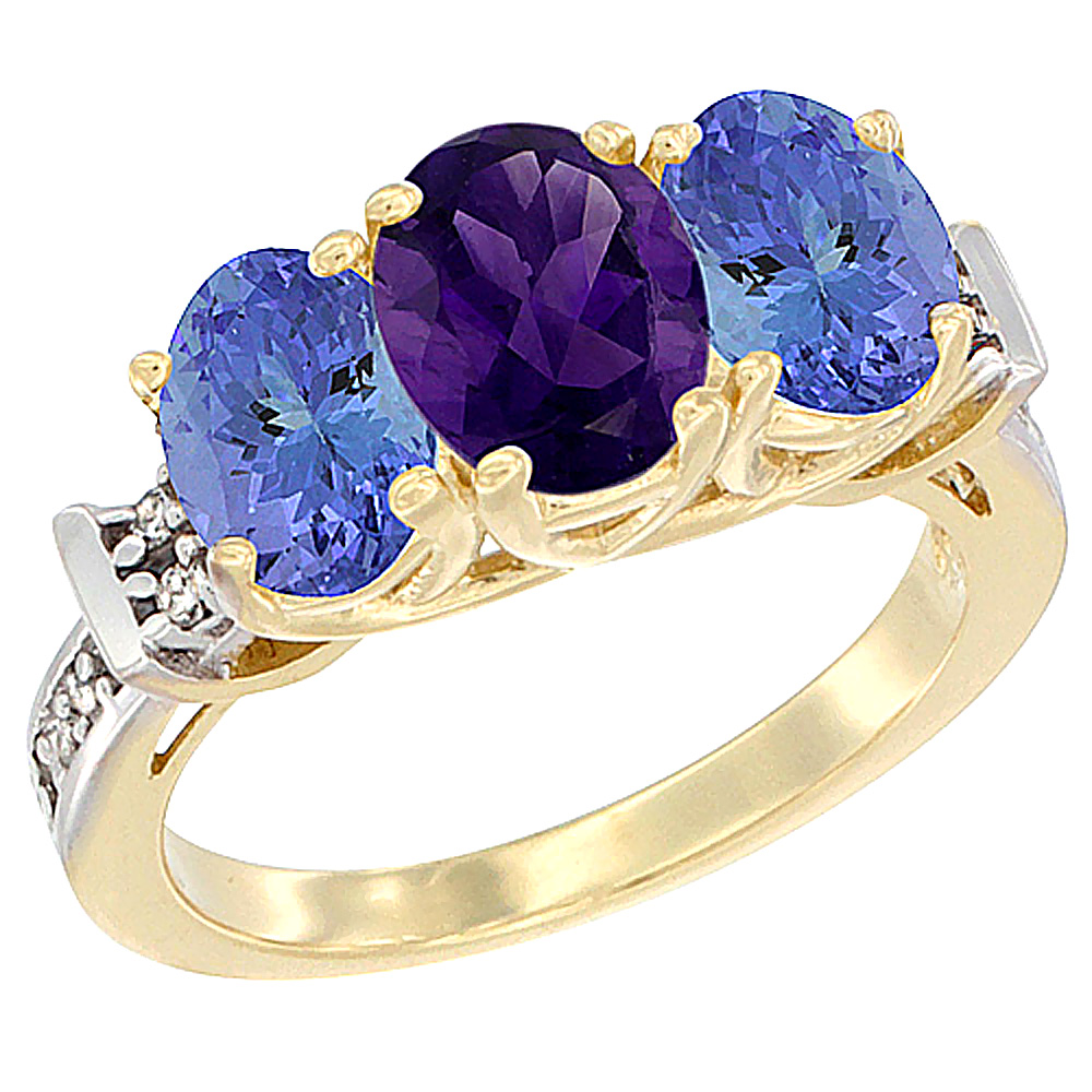 10K Yellow Gold Natural Amethyst & Tanzanite Sides Ring 3-Stone Oval Diamond Accent, sizes 5 - 10