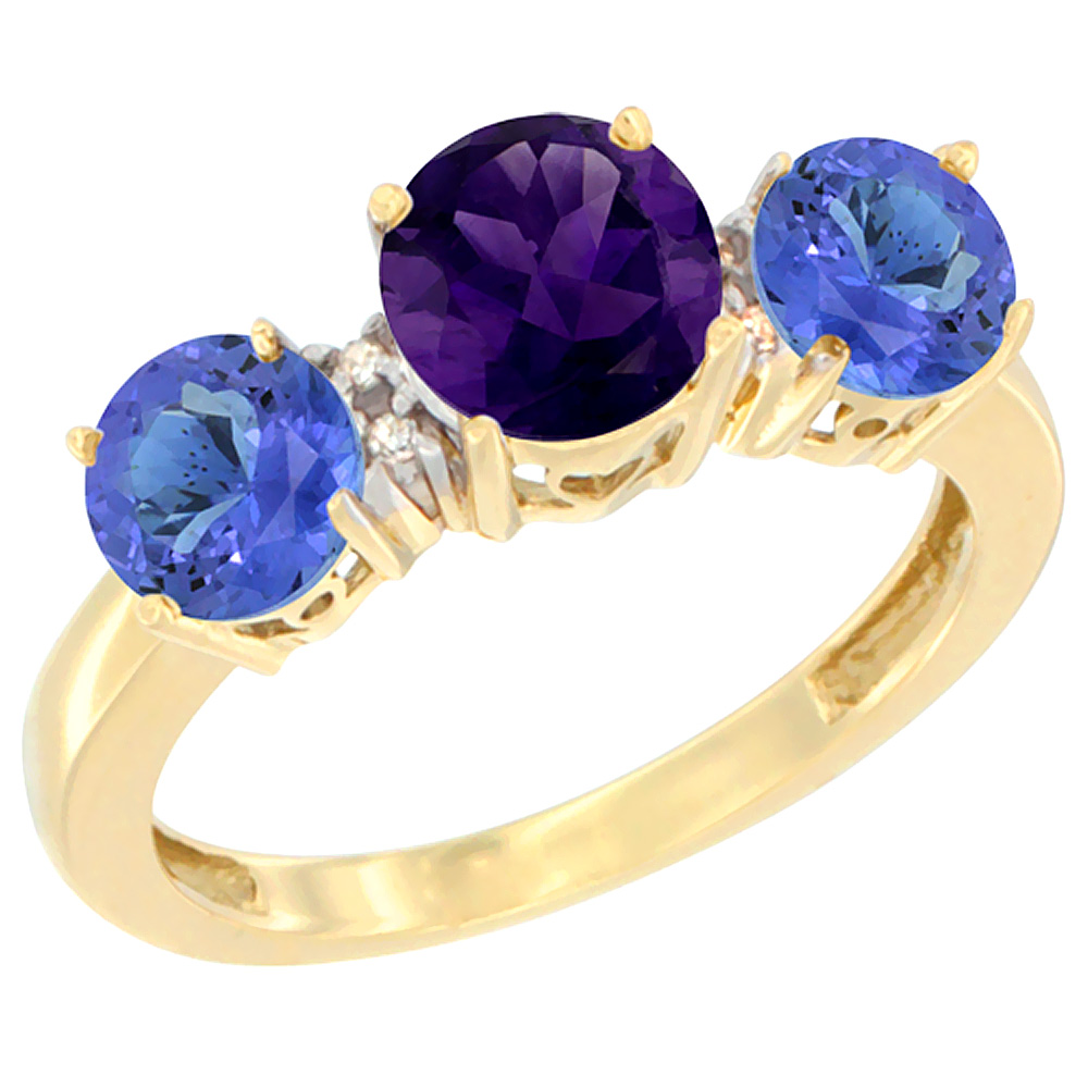 10K Yellow Gold Round 3-Stone Natural Amethyst Ring & Tanzanite Sides Diamond Accent, sizes 5 - 10