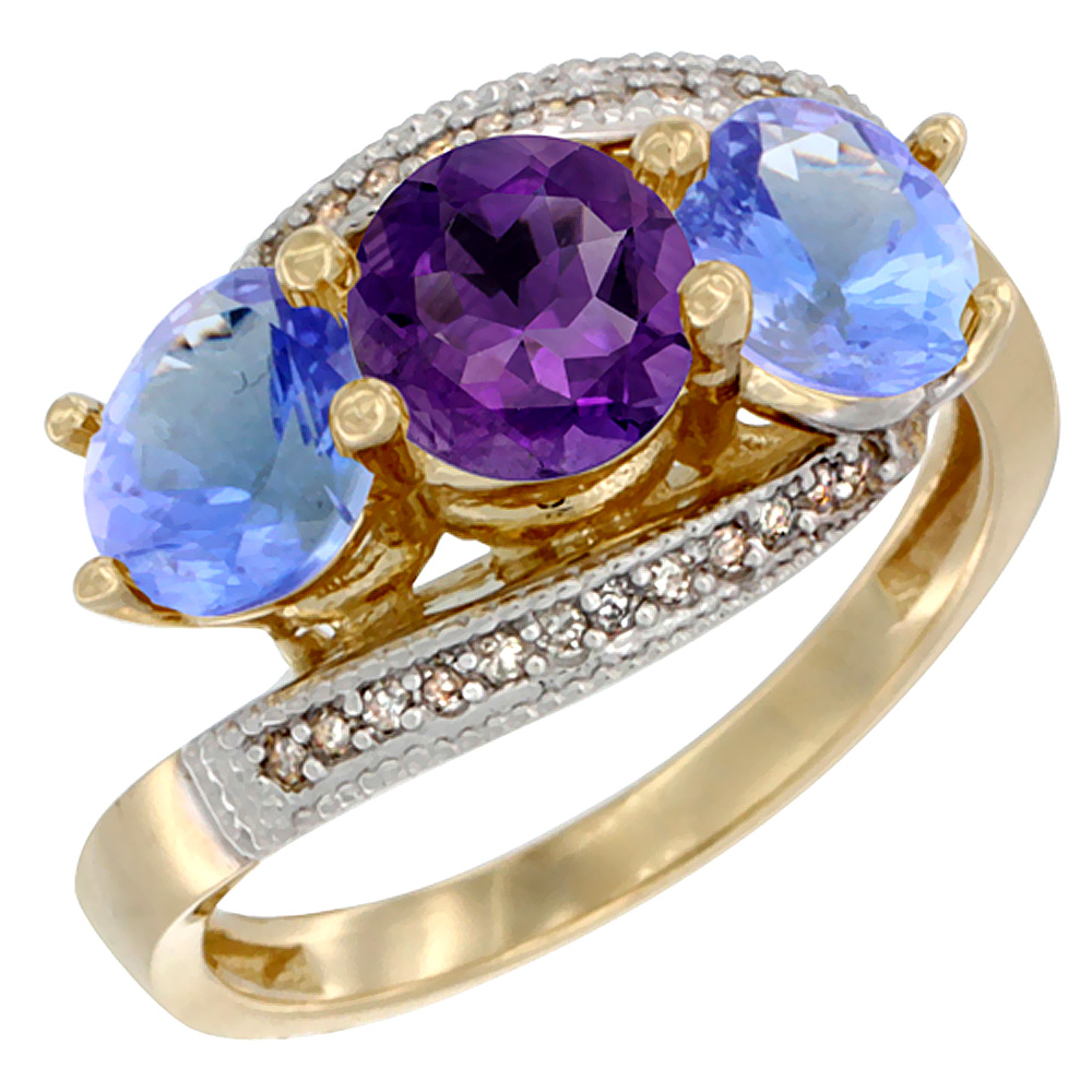 10K Yellow Gold Natural Amethyst & Tanzanite Sides 3 stone Ring Round 6mm Diamond Accent, sizes 5 - 10