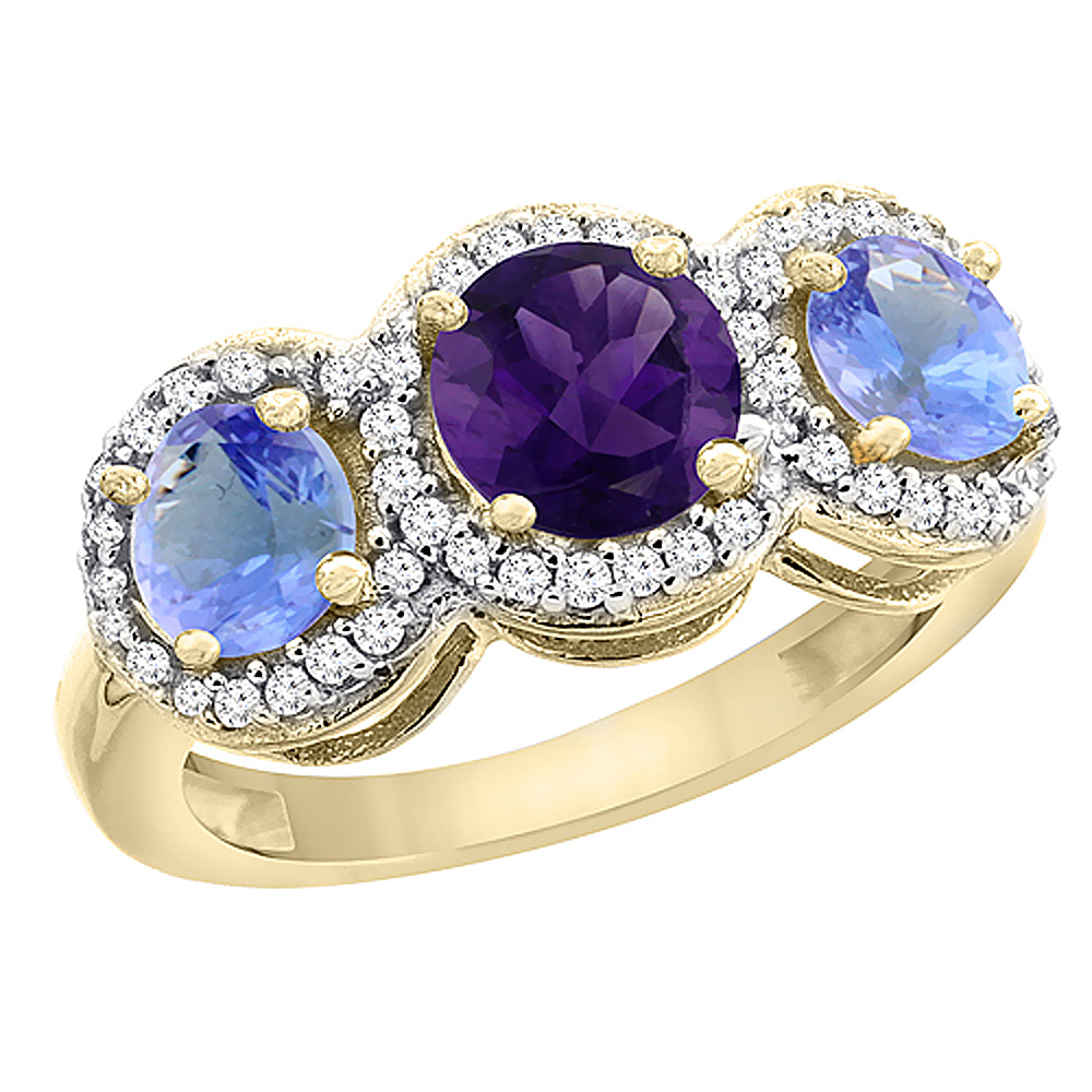 10K Yellow Gold Natural Amethyst & Tanzanite Sides Round 3-stone Ring Diamond Accents, sizes 5 - 10