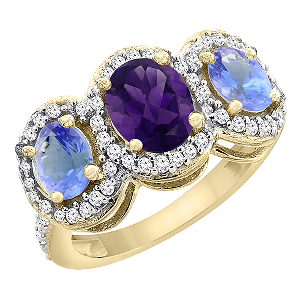 10K Yellow Gold Natural Amethyst & Tanzanite 3-Stone Ring Oval Diamond Accent, sizes 5 - 10