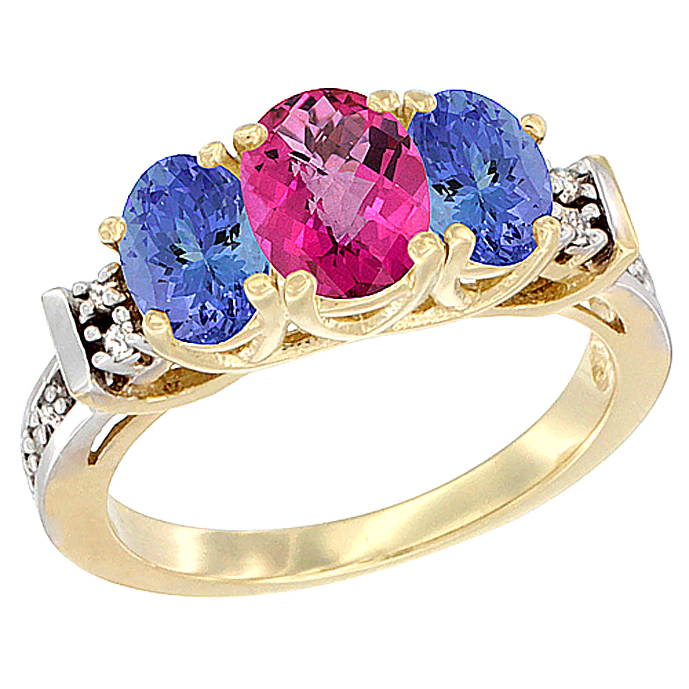 10K Yellow Gold Natural Pink Topaz & Tanzanite Ring 3-Stone Oval Diamond Accent