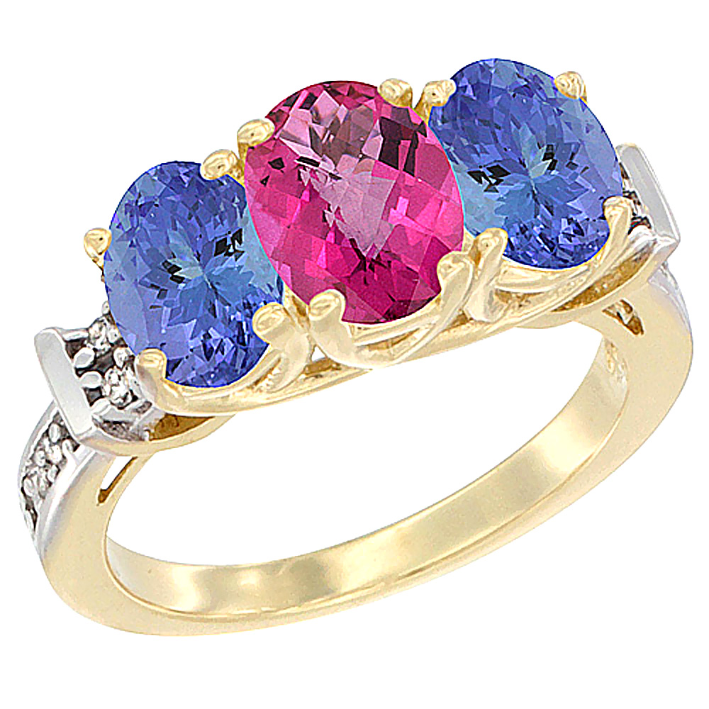 10K Yellow Gold Natural Pink Topaz & Tanzanite Sides Ring 3-Stone Oval Diamond Accent, sizes 5 - 10