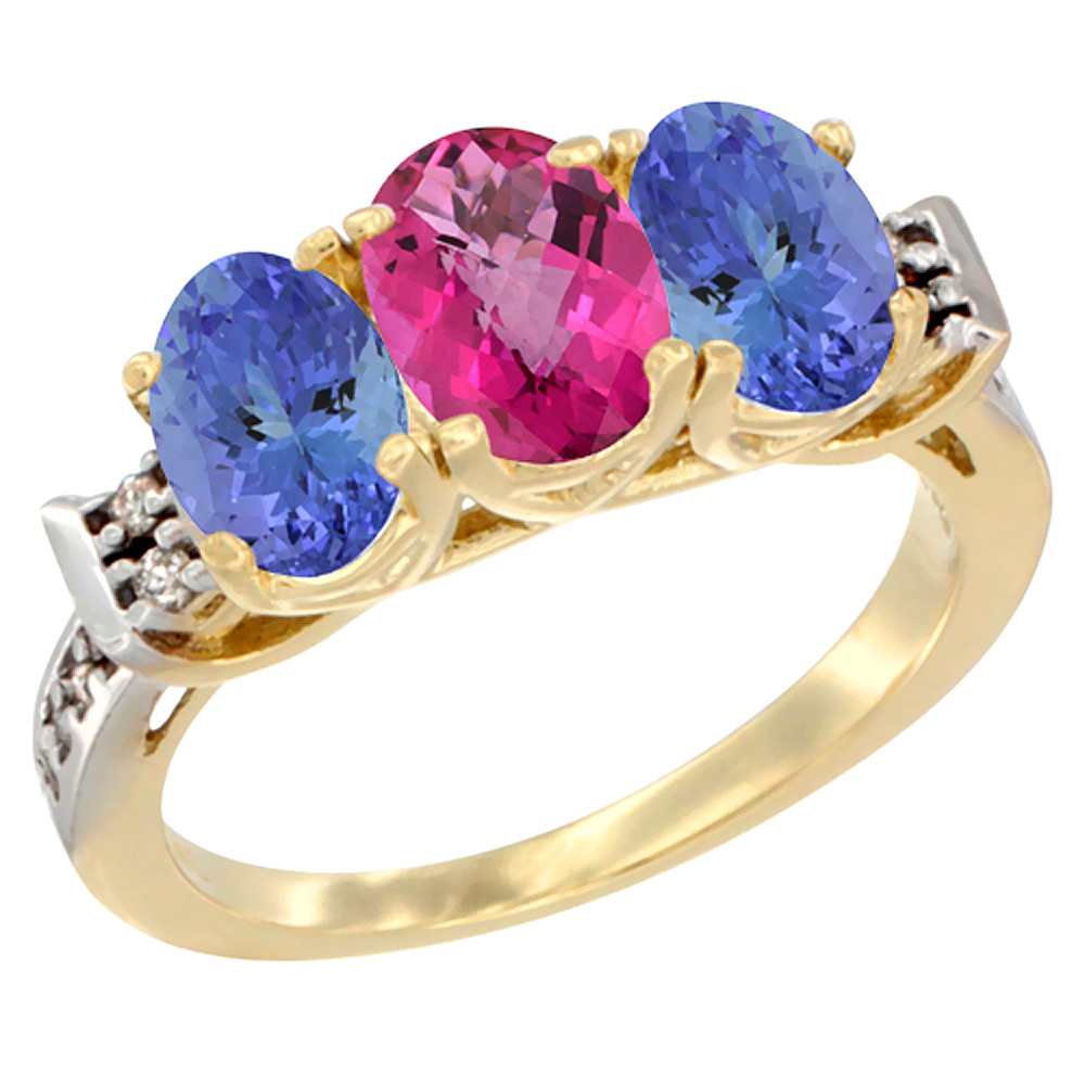10K Yellow Gold Natural Pink Topaz & Tanzanite Sides Ring 3-Stone Oval 7x5 mm Diamond Accent, sizes 5 - 10
