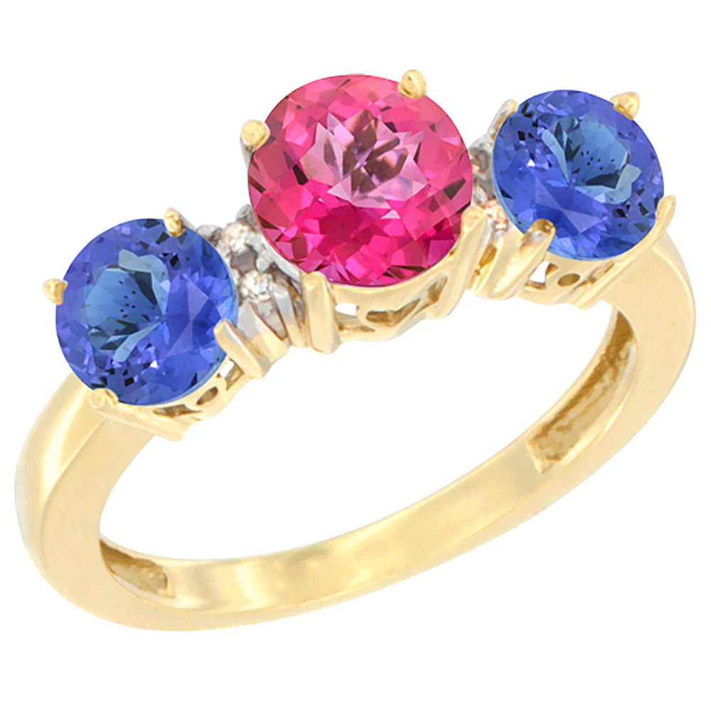 10K Yellow Gold Round 3-Stone Natural Pink Topaz Ring & Tanzanite Sides Diamond Accent, sizes 5 - 10