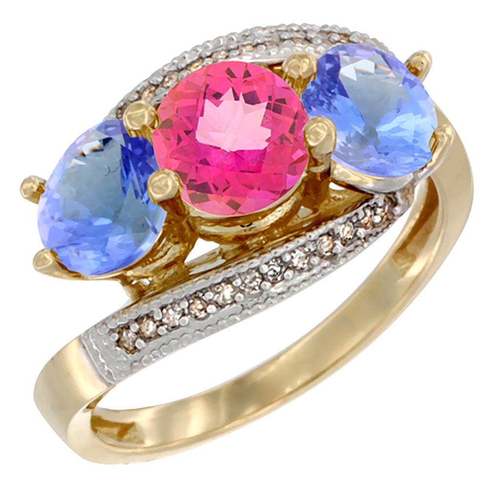 10K Yellow Gold Natural Pink Topaz & Tanzanite Sides 3 stone Ring Round 6mm Diamond Accent, sizes 5 - 10