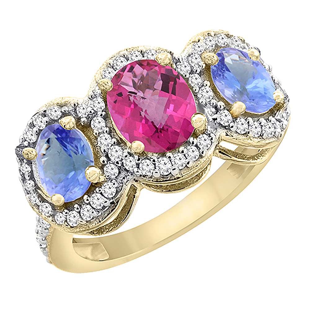 10K Yellow Gold Natural Pink Topaz & Tanzanite 3-Stone Ring Oval Diamond Accent, sizes 5 - 10