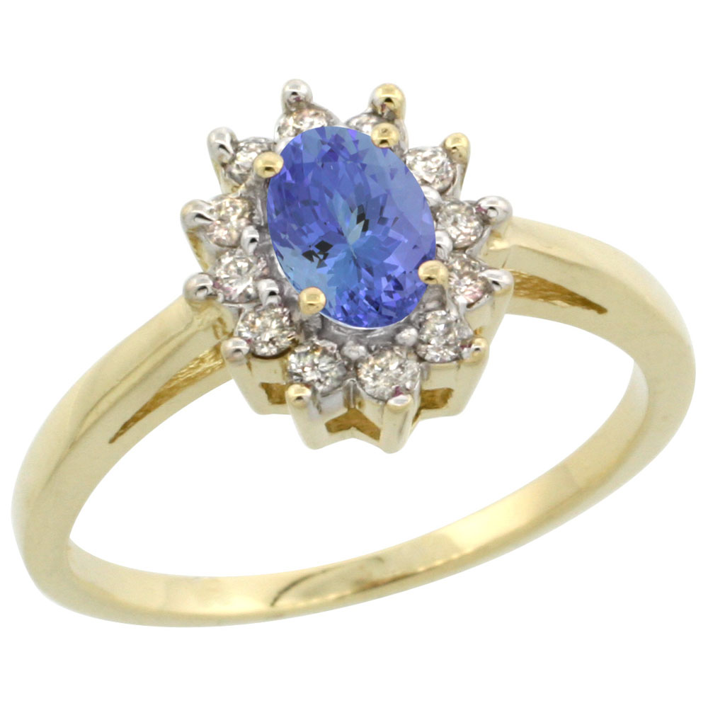 10K Yellow Gold Natural Tanzanite Flower Diamond Halo Ring Oval 6x4 mm, sizes 5 10