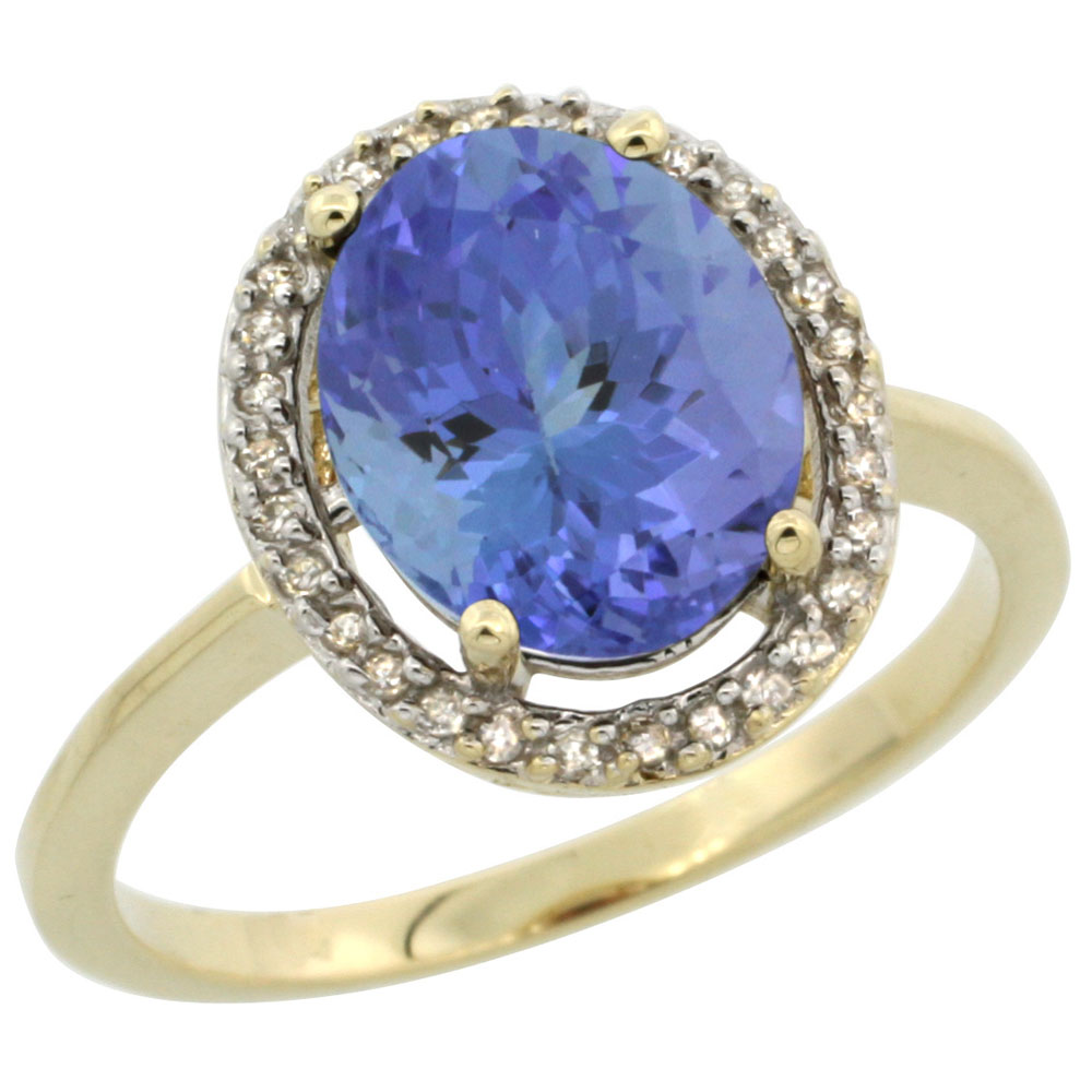 10K Yellow Gold Diamond Halo Natural Tanzanite Engagement Ring Oval 10x8 mm, sizes 5 10