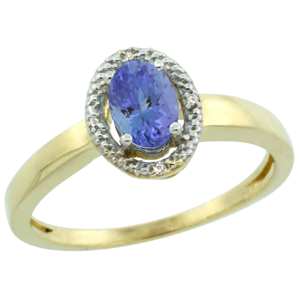 14K Yellow Gold Diamond Halo Natural Tanzanite Engagement Ring Oval 6X4 mm, sizes 5-10