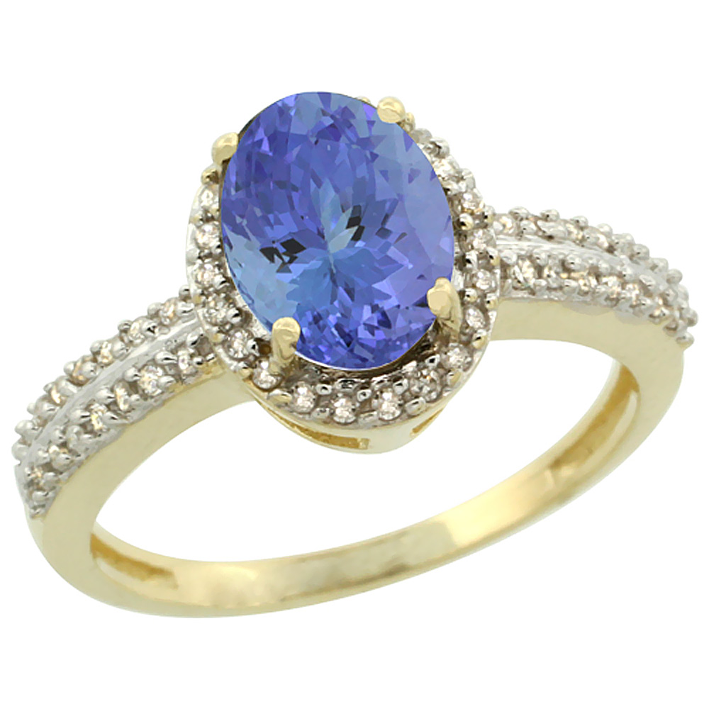 10k Yellow Gold Natural Tanzanite Ring Oval 8x6mm Diamond Halo, sizes 5-10