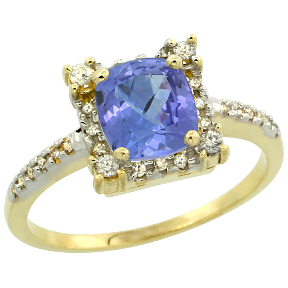 10k Yellow Gold Natural Tanzanite Ring Cushion-cut 6x6mm Diamond Halo, sizes 5-10