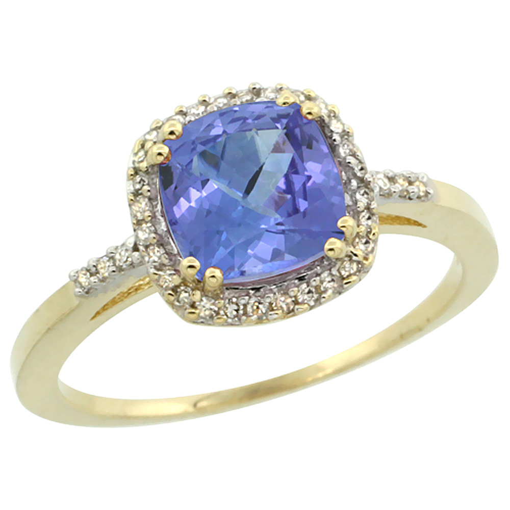 10K Yellow Gold Diamond Natural Tanzanite Ring Cushion-cut 7x7mm, sizes 5-10
