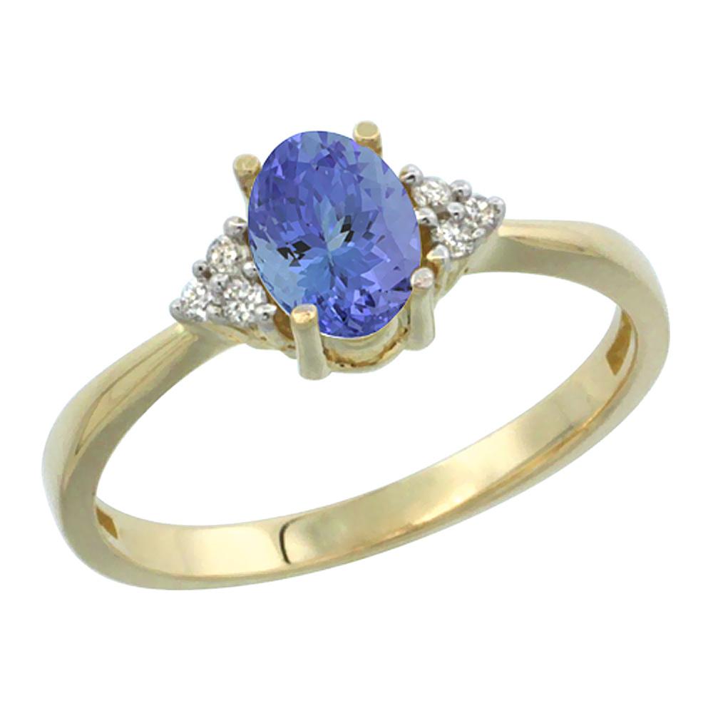 14K Yellow Gold Diamond Natural Tanzanite Engagement Ring Oval 7x5mm, sizes 5-10