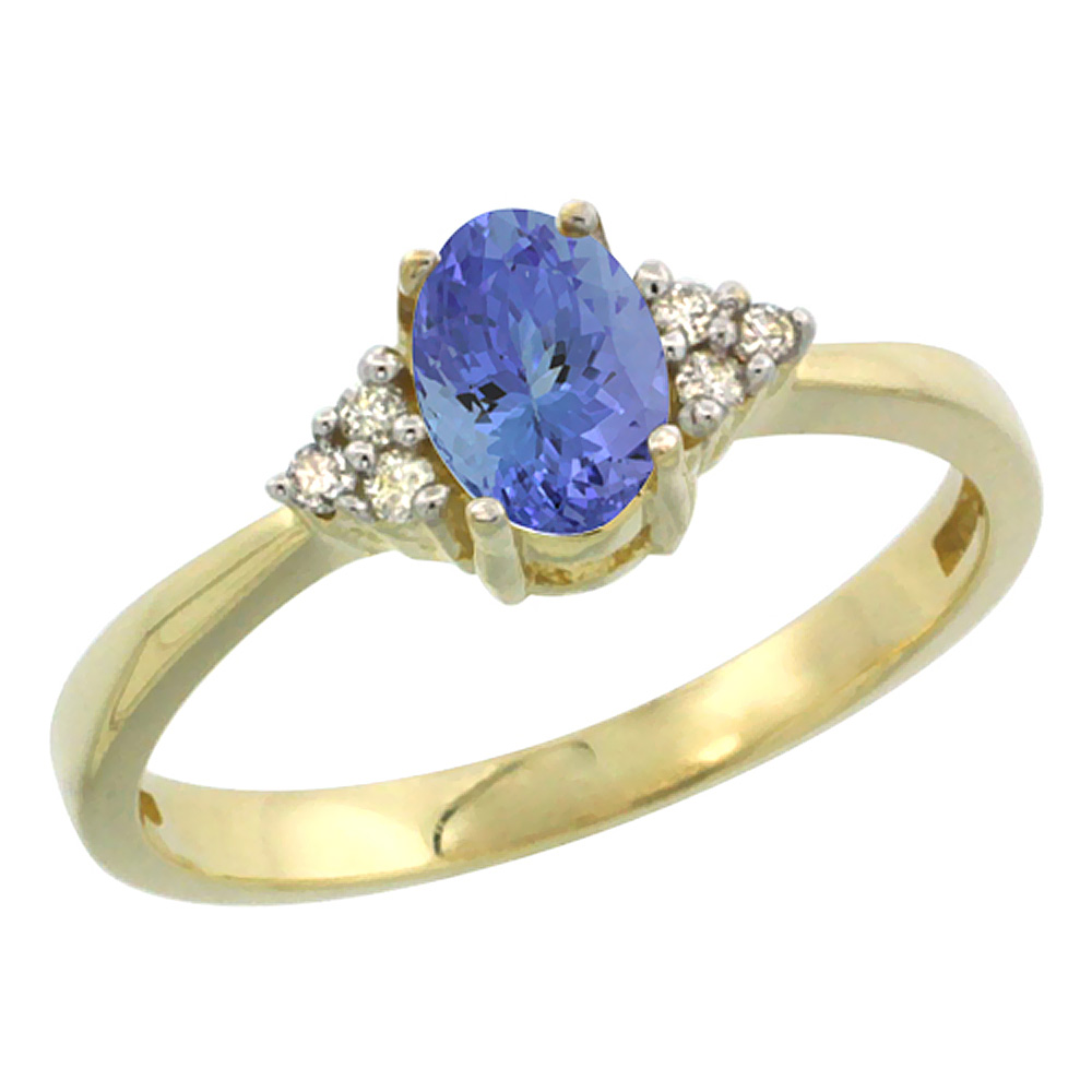 14K Yellow Gold Natural Tanzanite Ring Oval 6x4mm Diamond Accent, sizes 5-10