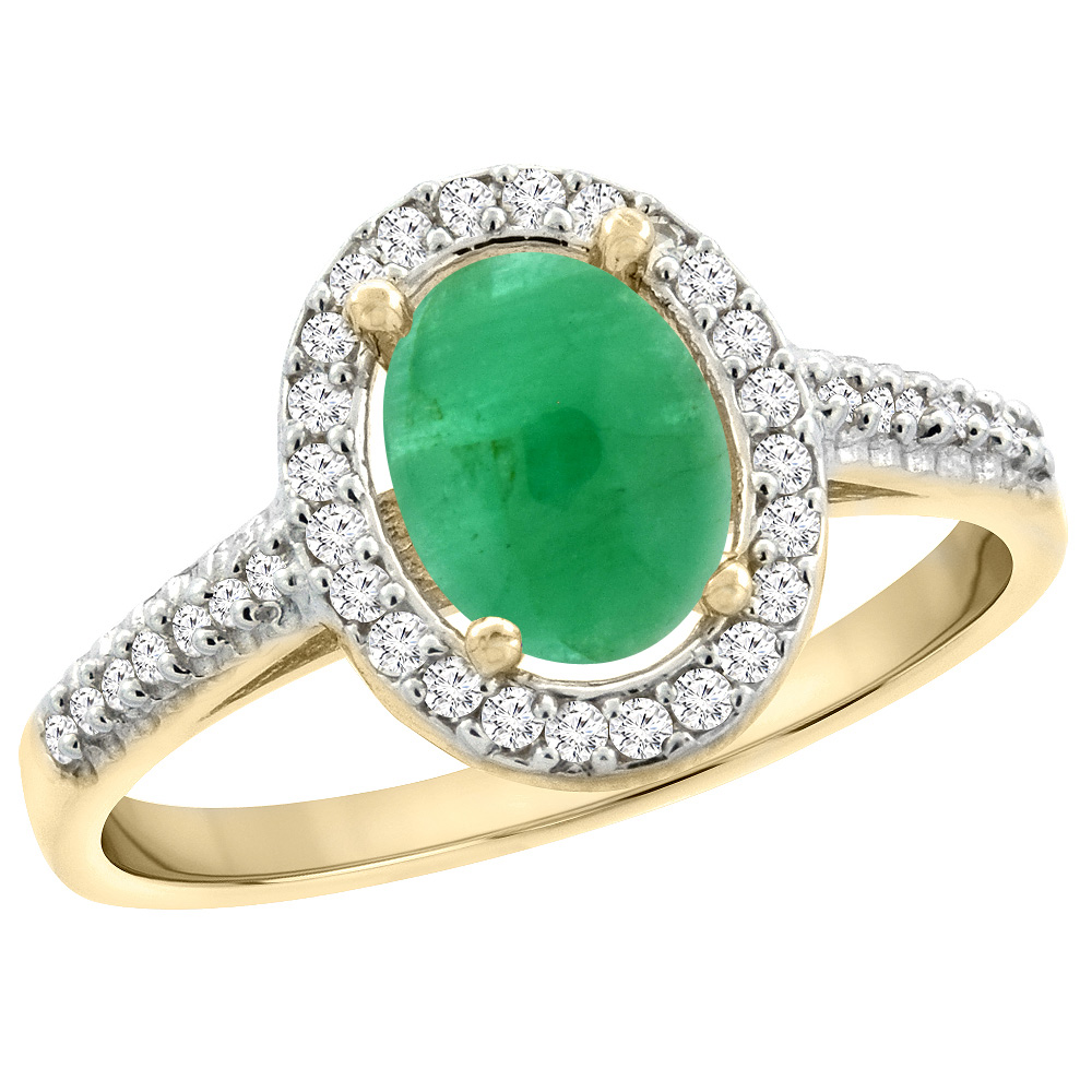 14K Yellow Gold Natural Cabochon Emerald Engagement Ring Oval 7x5 mm Diamond Halo, sizes 5 - 10