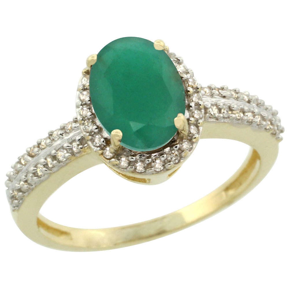 10k Yellow Gold Natural Cabochon Emerald Ring Oval 8x6mm Diamond Halo, sizes 5-10
