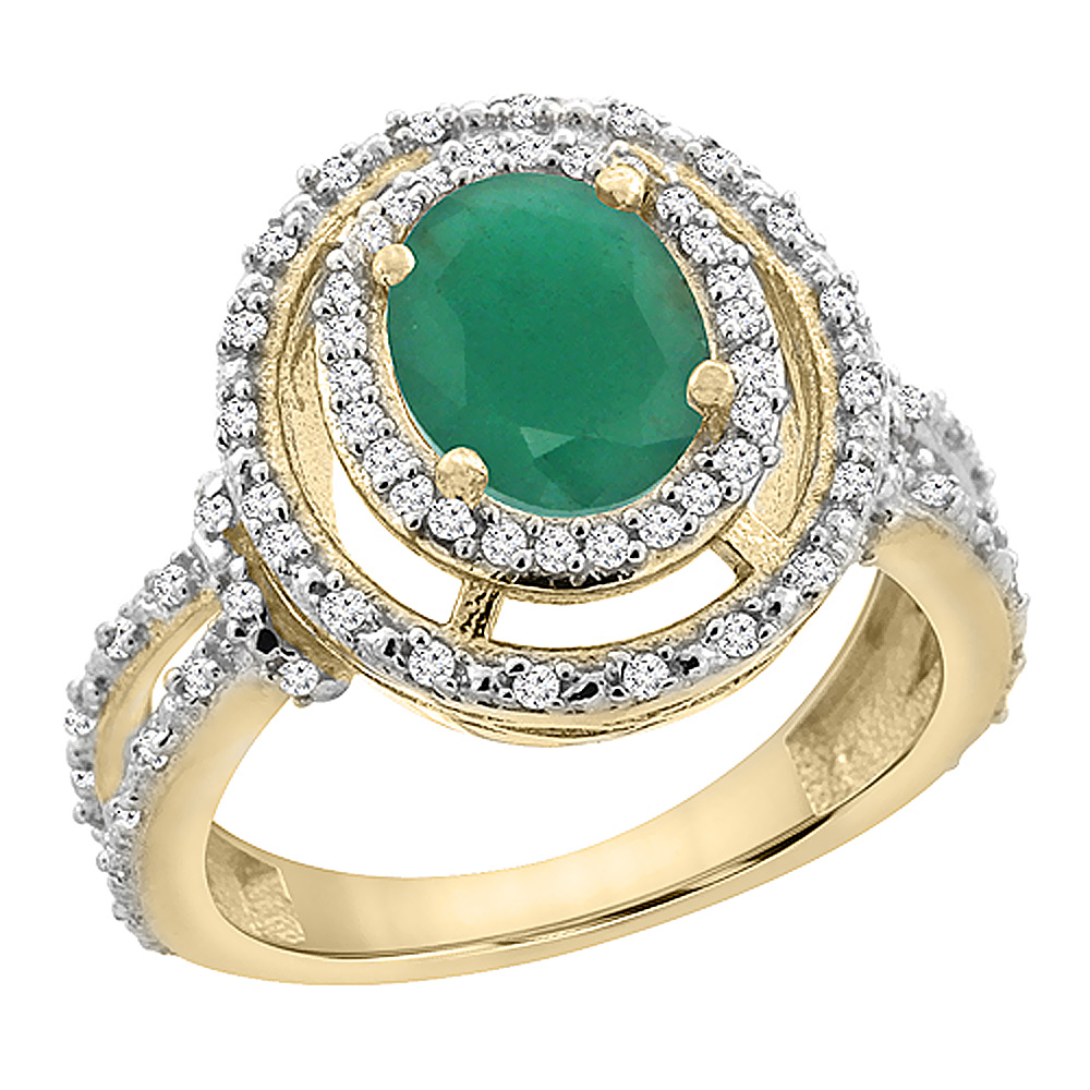 14K Yellow Gold Natural Cabochon Emerald Ring Oval 8x6 mm Double Halo Diamond, sizes 5 - 10