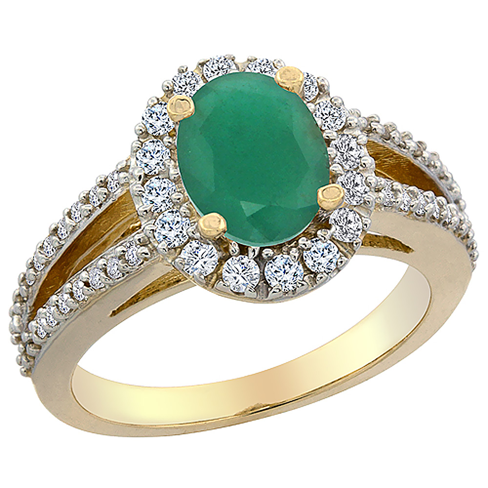 14K Yellow Gold Natural Cabochon Emerald Halo Ring Oval 8x6 mm with Diamond Accents, sizes 5 - 10